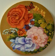 "Dutch Delight    16"" Round Oil on Canvas, wired and ready to hang."